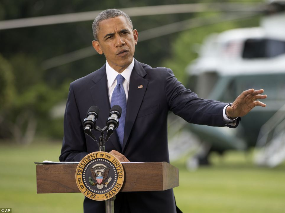 Barack Obama said his national security team will soon provide him with a list of 'selective actions by our military' to help push back a terrorist horde marching through Iraq, but insisted that the US 'will not be sending troops back into combat' there