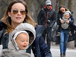 134852, Olivia Wilde and husband Jason Sudeikis take baby Otis on a snowy walk in Brooklyn, NY. The quaint family looked happy and bundled up despite the blustery weather!  New York, New York - Saturday March 28, 2015. Photograph:  © PacificCoastNews. Los Angeles Office: +1 310.822.0419 sales@pacificcoastnews.com FEE MUST BE AGREED PRIOR TO USAGE