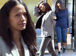 ***MANDATORY BYLINE TO READ INFPhoto.com ONLY***\nZoe Saldana picks up some lunch including a healthy green drink in Hollywood, CA.\n\nPictured: Zoe Saldana\nRef: SPL986634  280315  \nPicture by: Lek/INFphoto.com\n\n
