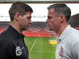 LIVERPOOL, ENGLAND - MARCH 12:  (THE SUN OUT, THE SUN ON SUNDAY OUT)  Steven Gerrard and Jamie Carragher of Liverpool during a press conference prior the All-Star Charity Match at Anfield on March 12, 2015 in Liverpool, England.  (Photo by John Powell/Liverpool FC via Getty Images)