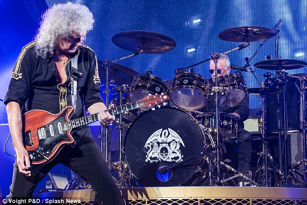 We Will Rock You: Pictured at their Sydney concert on Wednesday the two musicians are currently touring the country with collaborator and singer Adam Lambert