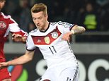 TBILISI, GEORGIA - MARCH 29: Marco Reus of Germany scores his team's first goal during the EURO 2016 Group D Qualifier match between Georgia and Germany at Boris Paichadze Stadium on March 29, 2015 in Tbilisi, Georgia.  (Photo by Matthias Hangst/Bongarts/Getty Images)