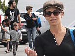 Please contact X17 before any use of these exclusive photos - x17@x17agency.com   Jillian Michaels and family daughter, Lukensia son Phoenix and partner Heidi Rhoades  in Malibu at the farmers market   March 29, 2015 X17online.com