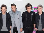 """(L - R) One Direction band members Zayn Malik, Louis Tomlinson, Liam Payne, Harry Styles and Niall Horan attend the 2013 American Music Awards at Nokia Theatre L.A. Live on November 24, 2013 in Los Angeles, California.    LOS ANGELES, CA - NOVEMBER 24:  (Photo by David Livingston/Getty Images)  """"Please note this image forms part of the Getty Premium Access agreement and may incur an additional fee. If reused it must be downloaded from the Getty site"""""""