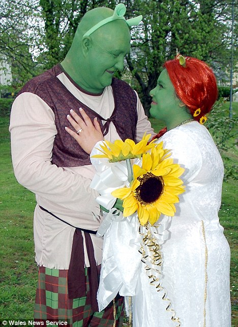 Green wedding: Tracey and Viv Williams shunned a traditional wedding and instead dressed as the green cartoon ogres from Shrek