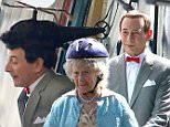134608, EXCLUSIVE: PEE WEE GETS IN THE CHOPP-HAIR! Paul Reubens, in character as Pee-wee Herman, wears a crazy helicopter themed wig while filming scenes for 'Pee-wee's Big Holiday'. Los Angeles, California - Monday March 23, 2015. Photograph: Pedro Andrade, © PacificCoastNews. Los Angeles Office: +1 310.822.0419 sales@pacificcoastnews.com FEE MUST BE AGREED PRIOR TO USAGE