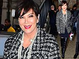 Kris Jenner arrives at the Chanel fashion show carrying a Karl Lagerfeld keychain.  Pictured: Kris Jenner Ref: SPL989085  310315   Picture by: 247PAPS.TV / Splash News  Splash News and Pictures Los Angeles: 310-821-2666 New York: 212-619-2666 London: 870-934-2666 photodesk@splashnews.com