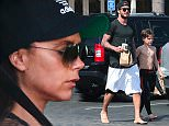 Please contact X17 before any use of these exclusive photos - x17@x17agency.com   As Victoria Beckham is falling asleep in the car, David Beckham goes for a burrito from mexican food chain Chipotle with sons Cruz and Brooklyn in Malibu after surfing lesson March 31, 2015 X17online.com