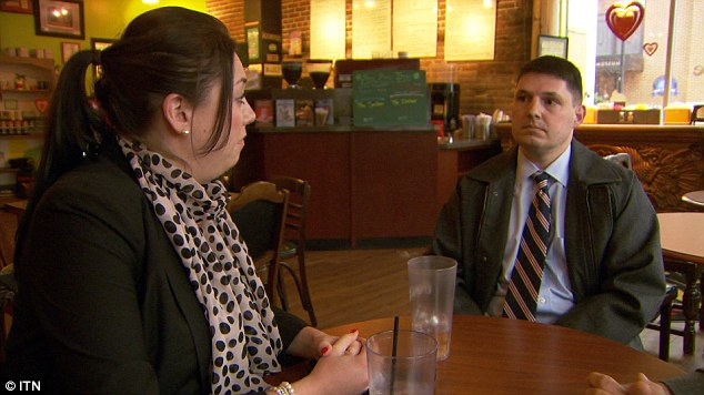 Emotional: Chelsey Lloyd meets U.S. Marine Vince Hogan in a coffee shop in Virginia