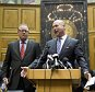 INDIANAPOLIS, IN - APRIL 2:  Indiana House Speaker Brian Bosma speaks as Senate President Pro Tem David Long (L) looks on during a press conference about anti-discrimination safeguards added to the controversial Religious Freedom Restoration Act at the State Capitol April, 2, 2015 in Indianapolis, Indiana. The bill prompted a swift backlash nationwide with businesses and entertainers promising to boycott the state.  (Photo by Aaron P. Bernstein/Getty Images)