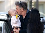 Beverly Hills, CA - Alec Baldwin shares a cute family moment while getting a juice with wife Hilaria and their baby girl Carmen at Pressed Juicery.  Alec gave Carmen a big kiss while waiting to cross the street. AKM-GSI        April 1, 2015 To License These Photos, Please Contact :    Steve Ginsburg  (310) 505-8447  (323) 423-9397  steve@akmgsi.com  sales@akmgsi.com    or    Maria Buda  (917) 242-1505  mbuda@akmgsi.com  ginsburgspalyinc@gmail.com