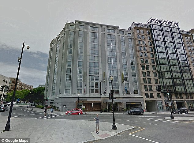 Police sources said Gallmon was at the Donovan hotel (pictured) for a 'sexual encounter'. Messerchmitt was found stabbed to death in his hotel room on February 10