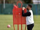 LIVERPOOL, ENGLAND - APRIL 02:  (THE SUN OUT, THE SUN ON SUNDAY OUT) Raheem Sterling of Liverpool during a training session at Melwood Training Ground on April 2, 2015 in Liverpool, England.  (Photo by Andrew Powell/Liverpool FC via Getty Images)
