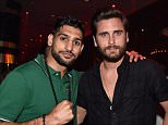 LAS VEGAS, NV - MARCH 27:  Boxer Amir Khan (L) and television personality Scott Disick appear at 1 OAK Nightclub at The Mirage Hotel & Casino on March 27, 2015 in Las Vegas, Nevada.  (Photo by David Becker/WireImage)