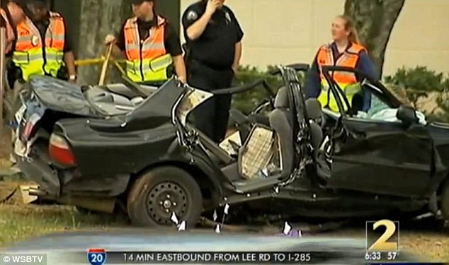 Deadly: He crashed this stolen Honda into a pole as he fled from police in Roswell on Tuesday afternoon