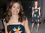 West Hollywood, CA - Emmy Rossum steps out after a dinner at Craig's Restaurant in West Hollywood. The 'Shameless' actress looked amazing in a black dress with tri-colored pattern, ankle strap high heels and a coral colored clutch. AKM-GSI          April 1, 2015 To License These Photos, Please Contact : Steve Ginsburg (310) 505-8447 (323) 423-9397 steve@akmgsi.com sales@akmgsi.com or Maria Buda (917) 242-1505 mbuda@akmgsi.com ginsburgspalyinc@gmail.com