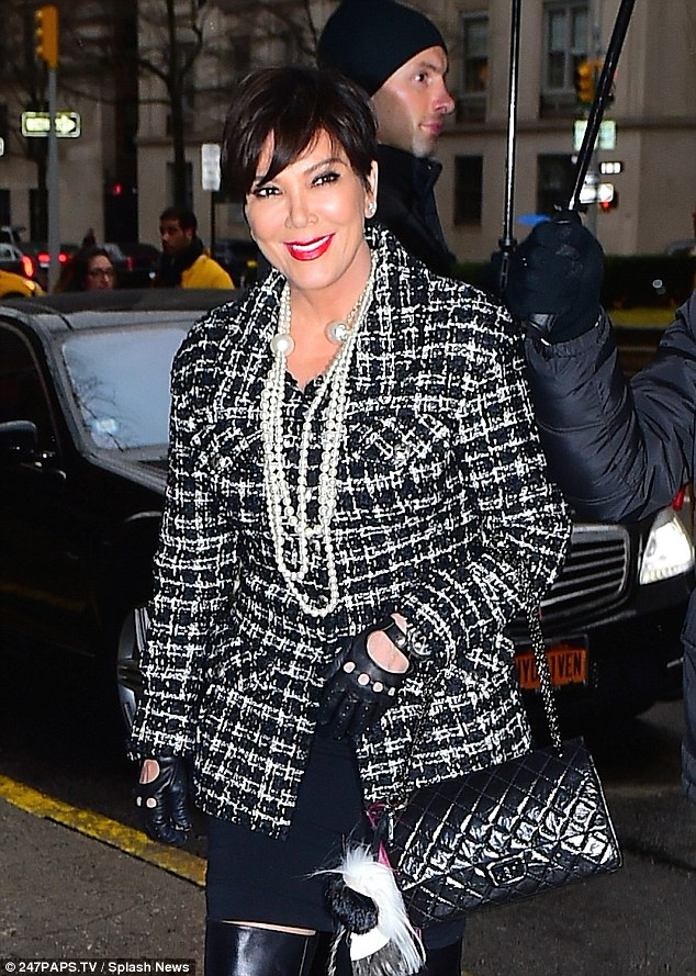 Trendsetter: Kris, displayed her trademark short black tresses at the Chanel fashion show on Tuesday evening