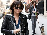 New York, NY - 'Fifty Shades of Grey' starlet Dakota Johnson stepped out with her beloved pup Zeppelin on Wednesday afternoon, walking around her neighborhood. The 25-year-old starlet looked adorable in pigtails, a leather jacket, and high top black Converse.\nAKM-GSI      April 1, 2015\nTo License These Photos, Please Contact :\nSteve Ginsburg\n(310) 505-8447\n(323) 423-9397\nsteve@akmgsi.com\nsales@akmgsi.com\nor\nMaria Buda\n(917) 242-1505\nmbuda@akmgsi.com\nginsburgspalyinc@gmail.com
