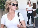 UK CLIENTS MUST CREDIT: AKM-GSI ONLY EXCLUSIVE: 57-year-old actress Melanie Griffith stopped by cosmetic surgery center Epione on Wednesday afternoon, following in the footsteps of her newfound best friend Kris Jenner. The 'Working Girl' stunner looked casual in a white scoop neck tee, leggings and flats, showing off a full head of curly hair. While she hid her face behind sunglasses, Melanie made sure to bring a few samples with her back to the car.  Pictured: Melanie Griffith Ref: SPL989844  010415   EXCLUSIVE Picture by: AKM-GSI / Splash News
