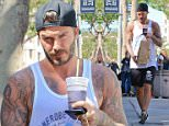 David Beckham picked up a bagfull of goodies at Juice Crafters after his workout at outside SoulCycle in Brentwood, on Thursday, April 2, 2015 X17online.com