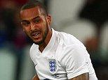 Theo Walcott of England has a shot on goal