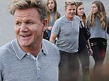 Chef Gordon Ramsay leaving the American Idol live show with his family and judge Jennifer Lopez also exiting after a 2 hour show. The singer was seen wearing white short shorts with gold pumps. Featuring: Gordon Ramsay Where: Los Angeles, California, United States When: 02 Apr 2015 Credit: Cousart/JFXimages/WENN.com