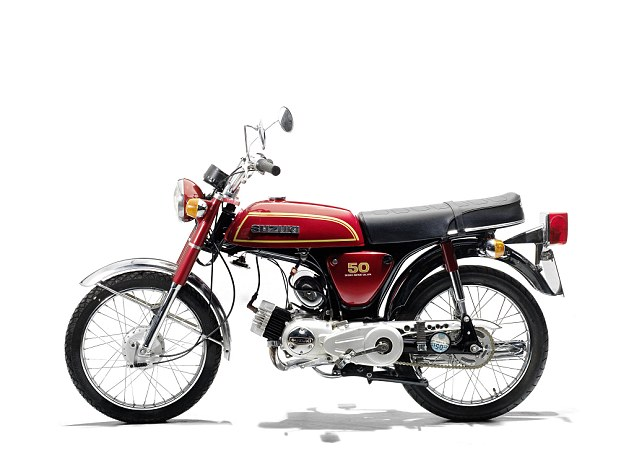 Bike dream: This 1976 Suzuki AP50 E of May's is expected to fetch £2,000-2,400. It's lot 327