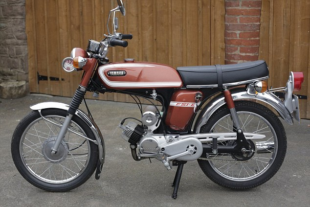 Nostalgic: This 1975 Yamaha 49cc FS1-E owned by Richard Hammond should go for £2,500-3,500. It's lot 337