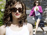 Picture Shows: Emmy Rossum  April 02, 2015    'Shameless' actress Emmy Rossum stops for an iced coffee at Coffee Bean & Tea Leaf in Toluca Lake, California. Emmy was sporting a new curly-haired look as she ran errands after getting her coffee.    Exclusive All Rounder  UK RIGHTS ONLY    Pictures by : FameFlynet UK    2015  Tel : +44 (0)20 3551 5049  Email : info@fameflynet.uk.com