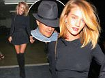 So much Hollywood fun! Orlando Bloom and Jason Statham's girlfriend Rosie Huntington Whiteley leaving club Nice Guys in Hollywood  april 3, 2015 X17online.com