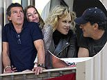 MALAGA, SPAIN - APRIL 02: Antonio Banderas and Nicole Kimpel attend procesion during Holy Week celebration on April 2, 2015 in Malaga, Spain.  (Photo by Europa Press/Europa Press via Getty Images)