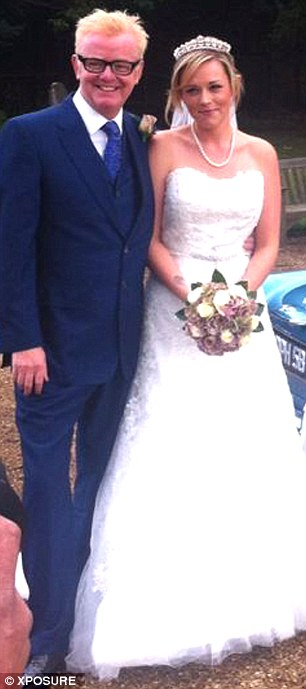 Father of the bride: Chris Evans walked his daughter, Jade, down the aisle as she married mechanic boyfriend Callum