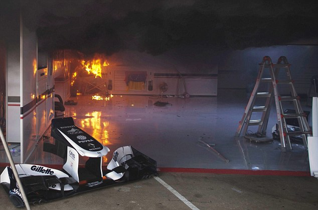 Inferno: The Williams garage was set alight following their victory in Spain