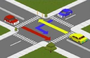 15 - در تقاطع روبه رو حق تقدم وسایل نقلیه را تعیین کنید.