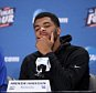 INDIANAPOLIS, IN - APRIL 04: Andrew Harrison #5 of the Kentucky Wildcats reacts in the post game press conference after being defeated by the Wisconsin Badgers during the NCAA Men's Final Four Semifinal at Lucas Oil Stadium on April 4, 2015 in Indianapolis, Indiana. Wisconsin defeated Kentucky 71-64. (Photo by Joe Robbins/Getty Images)