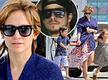 Jennifer Lopez and Casper  with kids stop at gas station in Calabasas on their way to vacation with jet skis april 4, 2015 /X17online.com