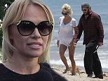 EXCLUSIVE TO INF. ALL-ROUNDER...June 8, 2014: Pam Anderson and Rick Solomon spend the afternoon on the beach with their beloved pooches as the lovebirds kiss, frolic, and do cartwheels on the sand...Mandatory Credit:  Lazic/Borisio/INFphoto Ref: infusla-257/277|sp|EXCLUSIVE TO INF. ALL-ROUNDER.