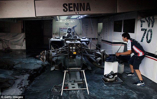 Shell: The remains of Senna's Williams following the blaze