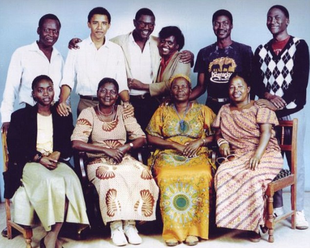 Barack Obama (back row, second from right) meets his family for the first time during a visit to Kenya in 1987