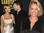 """LOS ANGELES, CA - MARCH 19:  Model Lara Bingle and actor Sam Worthington attend the premiere of """"Sabotage"""" at Regal Cinemas L.A. Live on March 19, 2014 in Los Angeles, California.  (Photo by Jason LaVeris/FilmMagic)"""