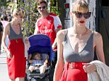 Beverly Hills, CA - Expectant mother Jaime King looked alarmingly thin as she stepped out with her husband Kyle Newman and son James on Saturday, despite her pregnancy. The 35-year-old actress hid her baby bump behind a knee-length red skirt as she and her family enjoyed the California sunshine on their stroll.\nAKM-GSI        April 4, 2015\nTo License These Photos, Please Contact :\nSteve Ginsburg\n(310) 505-8447\n(323) 423-9397\nsteve@akmgsi.com\nsales@akmgsi.com\nor\nMaria Buda\n(917) 242-1505\nmbuda@akmgsi.com\nginsburgspalyinc@gmail.comman, i might nee to go spank a kid
