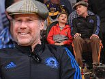 Will Ferrell and his son out at the Lakers game. The Portland Trail Blazers defeated the Los Angeles Lakers by the final score of 107-77 at Staples Center in downtown Los Angeles CA.  Pictured: Will Ferrell Ref: SPL991731  030415   Picture by: London Ent / Splash News  Splash News and Pictures Los Angeles: 310-821-2666 New York: 212-619-2666 London: 870-934-2666 photodesk@splashnews.com
