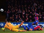 LONDON, ENGLAND - APRIL 06: Wilfried Zaha of Crystal Palace misses from close range during the Barclays Premier League match between Crystal Palace and Manchester City at Selhurst Park on April 6, 2015 in London, England.  (Photo by Jamie McDonald/Getty Images)