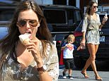 05.APRIL.2015 - BRENTWOOD - USA\n*STRICTLY AVAILABLE FOR UK AND GERMANY USE ONLY*\nALESSANDRA AMBROSIO IS LOOKING READY FOR SPRING AS SHE IS TAKING HER SON NOAH FOR LUNCH AND THEN AN ICE CREAM.  ALESSANDRA LICKS THE DRIPS FROM HER SON'S CONE AS NOAH, IN A SUPERMAN T-SHIRT AND CAPE, EAGERLY REACHES FOR IT BACK\nBYLINE MUST READ : XPOSUREPHOTOS.COM\n***UK CLIENTS - PICTURES CONTAINING CHILDREN PLEASE PIXELATE FACE PRIOR TO PUBLICATION ***\n**UK CLIENTS MUST CALL PRIOR TO TV OR ONLINE USAGE PLEASE TELEPHONE 44 208 344 2007**