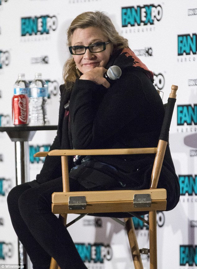 Glowing: Carrie Fisher appeared healthy and happy as she headlined Fan Expo Vancouver alongside William Shatner on Sunday
