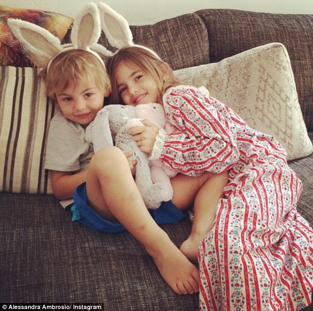Mommy's little bunnies! The model posted a photo of her children, Anja, six, and Noah, two, captioned, 'Easter Morning with my bunnies #happyeaster#easterweekend'