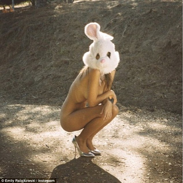 Clothing optional: Emily Ratajkowski upped the sexiness by posing sans clothing with only a rabbit head covering her face
