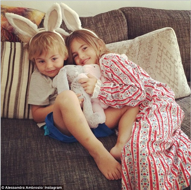 Her little bunnies! Alessandra Ambrosio snapped a cute photo of her two-year-old son Noah and six-year-old daughter Anja