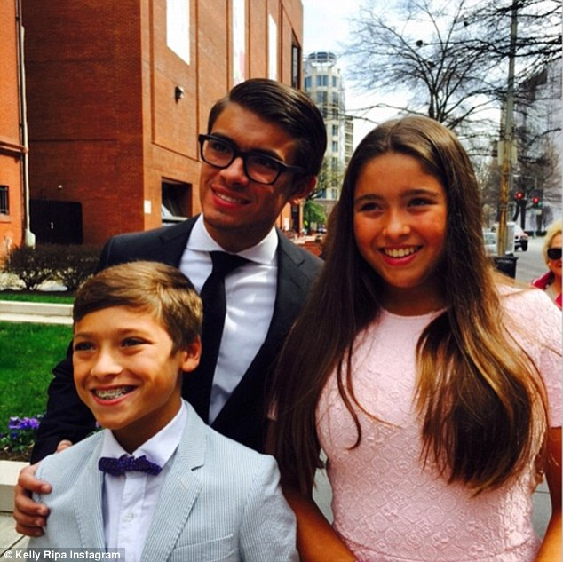 All grown up! Kelly Ripa shared this family photo of her look-alike eldest son Michael (aged 17), Lola (aged 13) and Joaquin (aged 12)