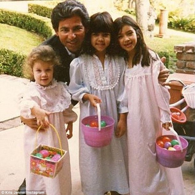 Family flashback: Kris Jenner posted this vintage photo of her daughters Khloe, Kourtney and Kim with late husband Robert Kardashian